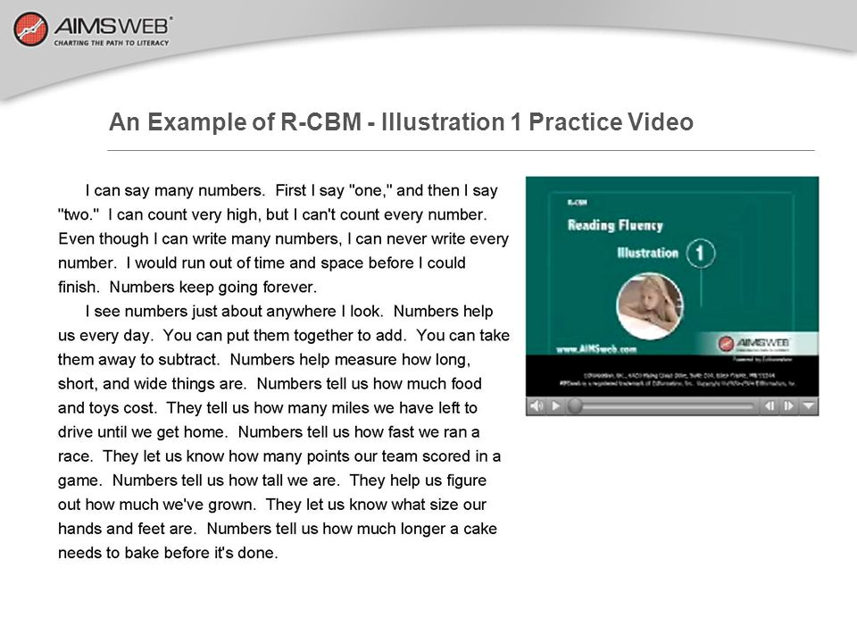 An Example of R-CBM - Illustration 1 Practice Video