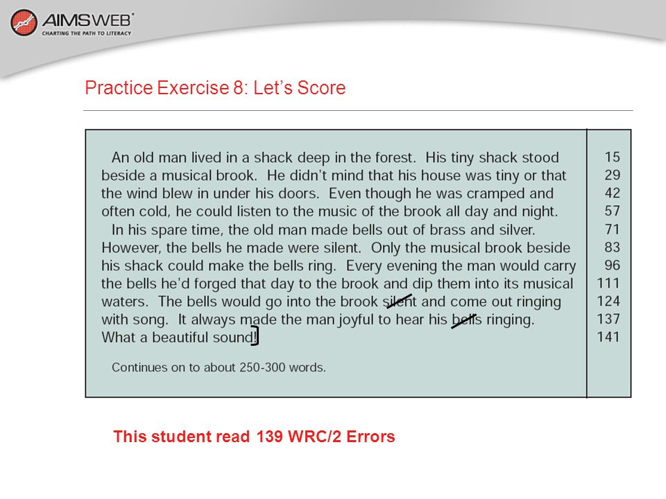 This student read 139 WRC/2 Errors
