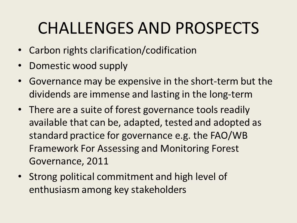CHALLENGES AND PROSPECTS Carbon rights clarification/codification Domestic wood supply Governance may be expensive in the short-term but the dividends