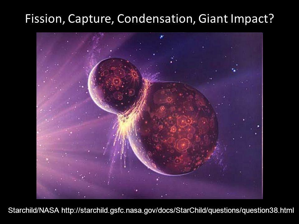 Fission, Capture, Condensation, Giant Impact? Starchild/NASA http://starchild.gsfc.nasa.gov/docs/StarChild/questions/question38.html