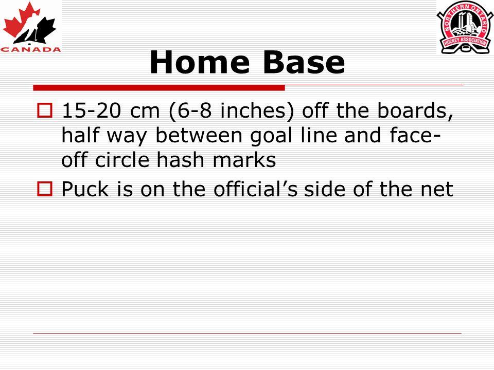 Home Base 15-20 cm (6-8 inches) off the boards, half way between goal line and face- off circle hash marks Puck is on the officials side of the net