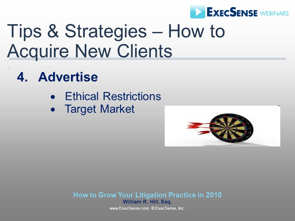 Tips & Strategies – How to Acquire New Clients 4.