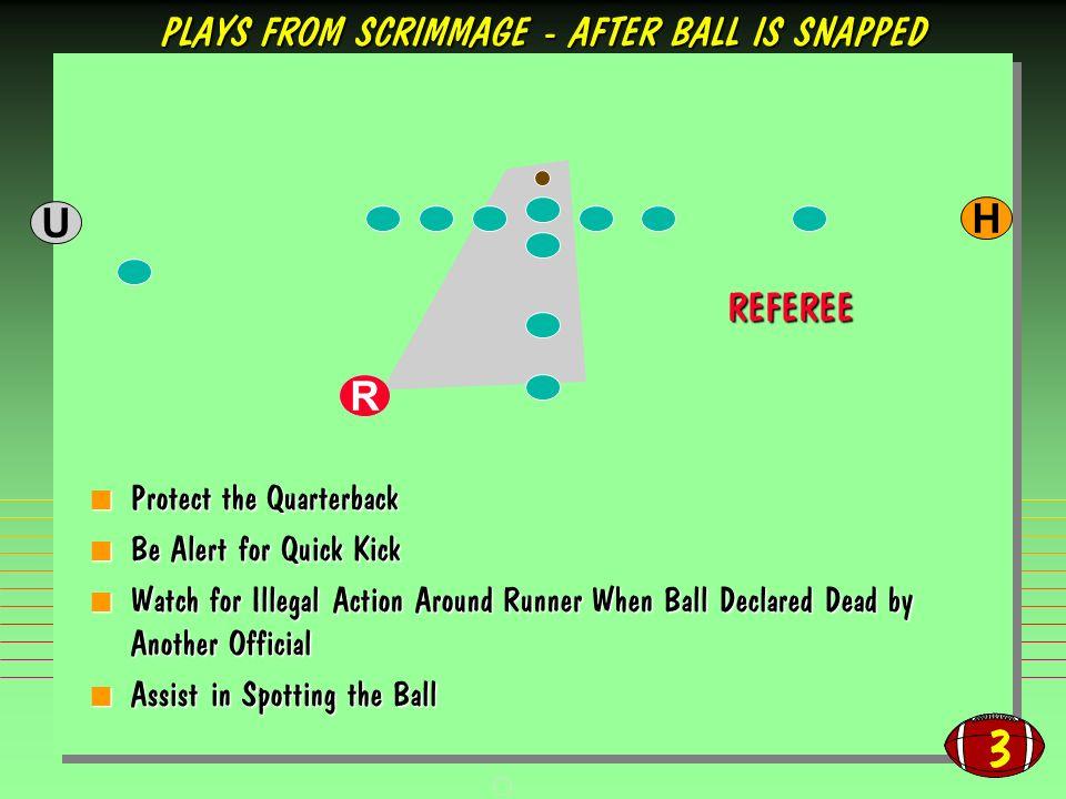 3 Protect the Quarterback Protect the Quarterback Be Alert for Quick Kick Be Alert for Quick Kick Watch for Illegal Action Around Runner When Ball Dec