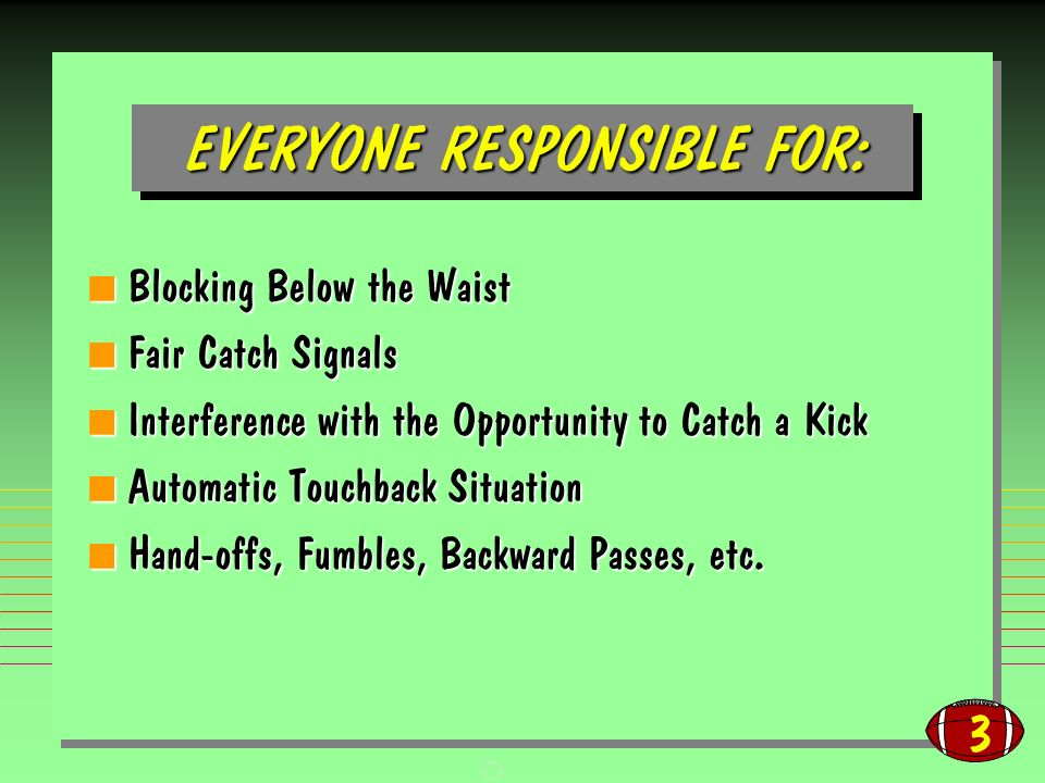 3 EVERYONE RESPONSIBLE FOR: Blocking Below the Waist Blocking Below the Waist Fair Catch Signals Fair Catch Signals Interference with the Opportunity to Catch a Kick Interference with the Opportunity to Catch a Kick Automatic Touchback Situation Automatic Touchback Situation Hand-offs, Fumbles, Backward Passes, etc.