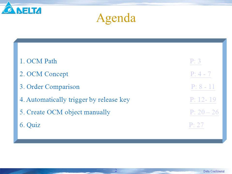 Delta Confidential 2 Agenda 1. OCM Path P: 3P: 3 2.