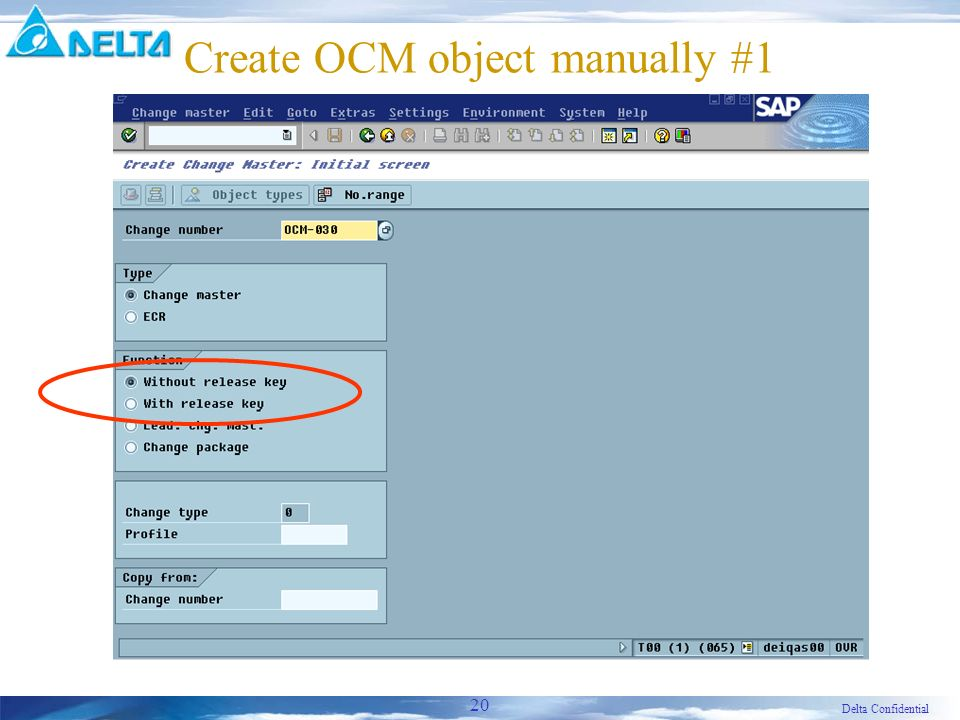 Delta Confidential 20 Create OCM object manually #1