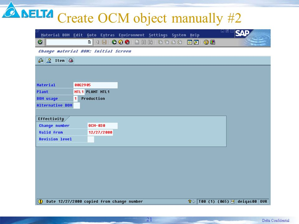 Delta Confidential 21 Create OCM object manually #2