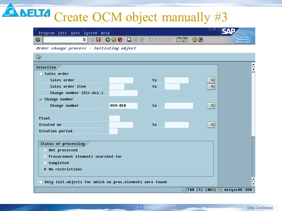 Delta Confidential 22 Create OCM object manually #3