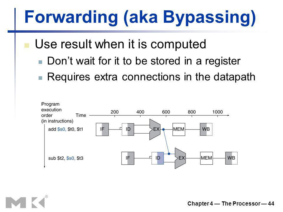 Chapter 4 The Processor 44 Forwarding (aka Bypassing) Use result when it is computed Dont wait for it to be stored in a register Requires extra connec