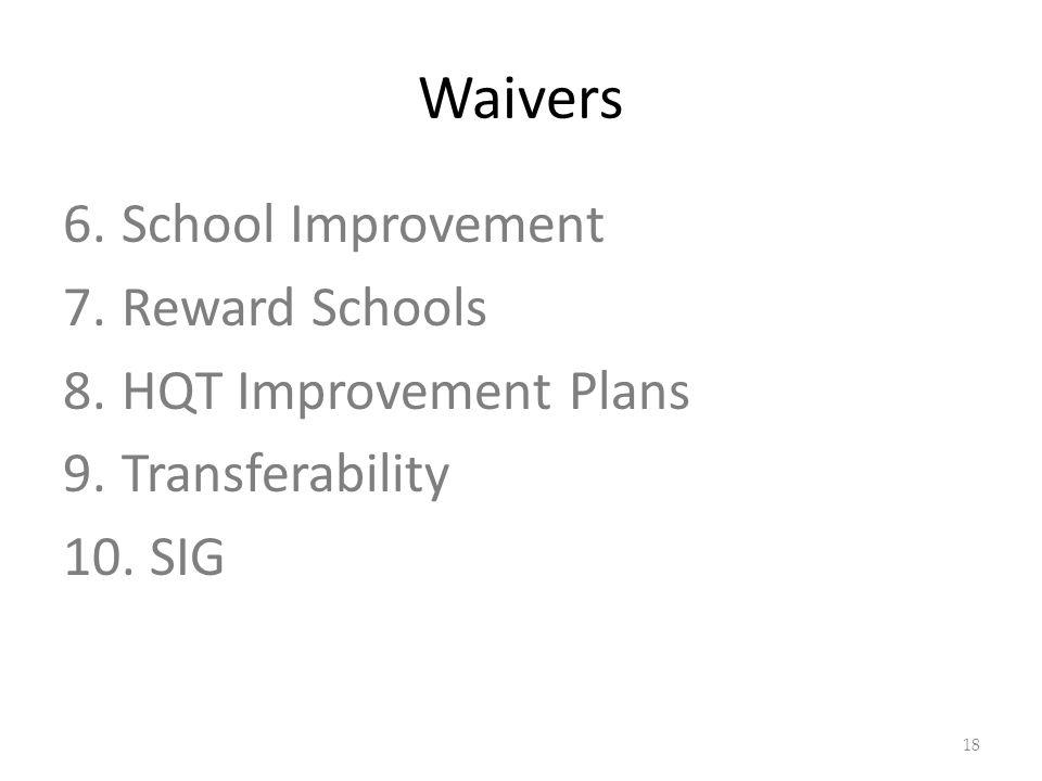 Waivers 6.School Improvement 7.Reward Schools 8.HQT Improvement Plans 9.Transferability 10. SIG 18