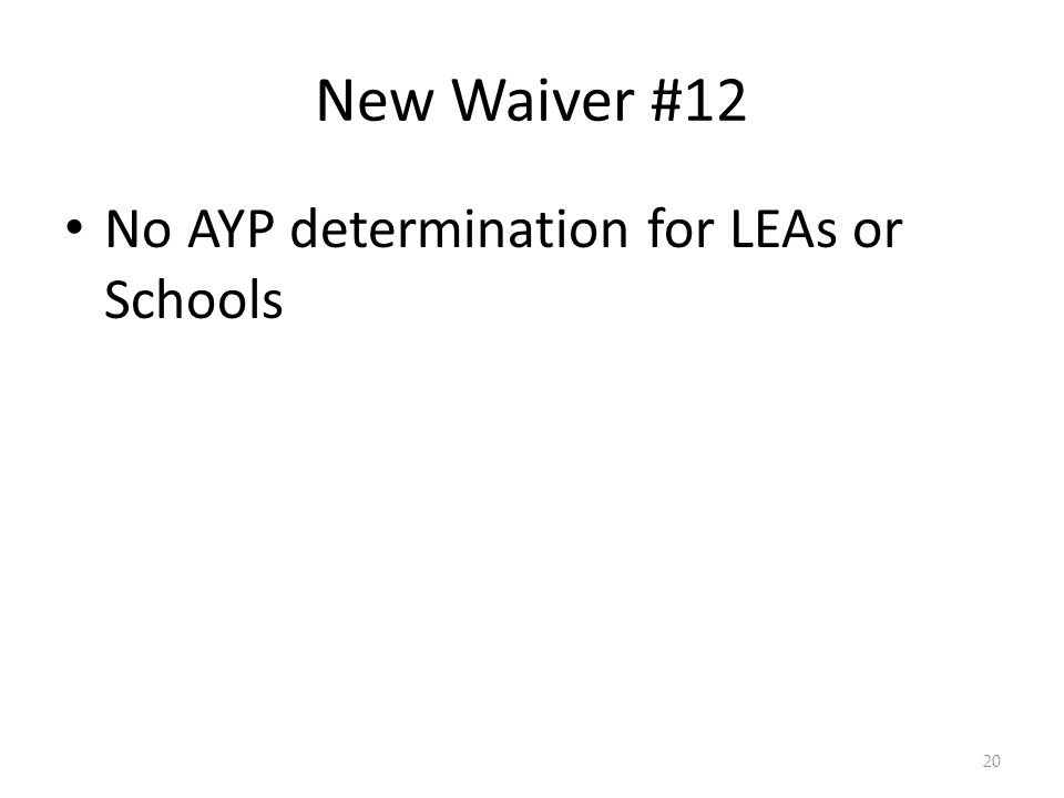 New Waiver #12 No AYP determination for LEAs or Schools 20