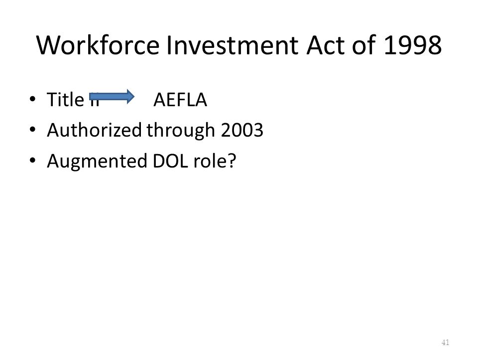 Workforce Investment Act of 1998 Title II AEFLA Authorized through 2003 Augmented DOL role 41