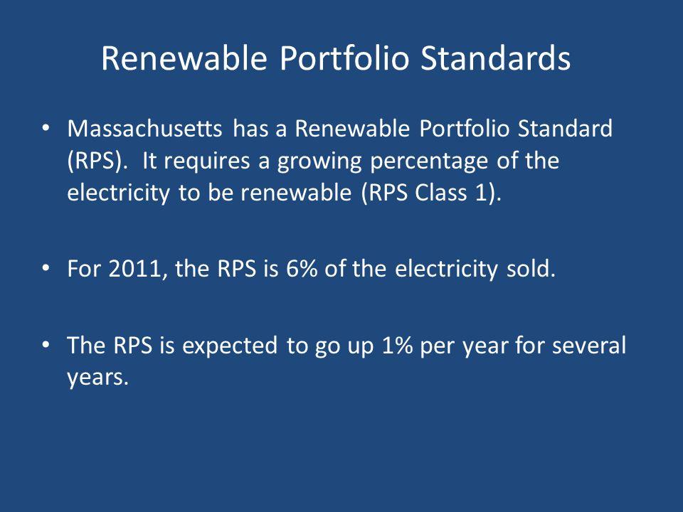 Renewable Portfolio Standards Massachusetts has a Renewable Portfolio Standard (RPS). It requires a growing percentage of the electricity to be renewa