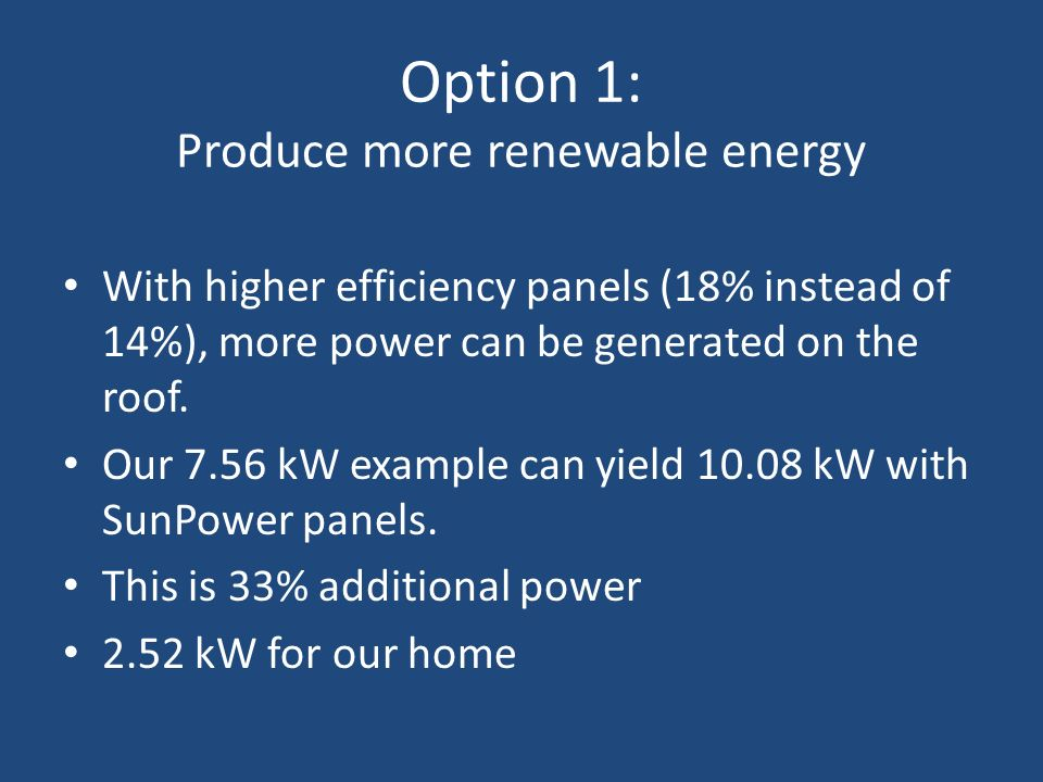 Option 1: Produce more renewable energy With higher efficiency panels (18% instead of 14%), more power can be generated on the roof. Our 7.56 kW examp