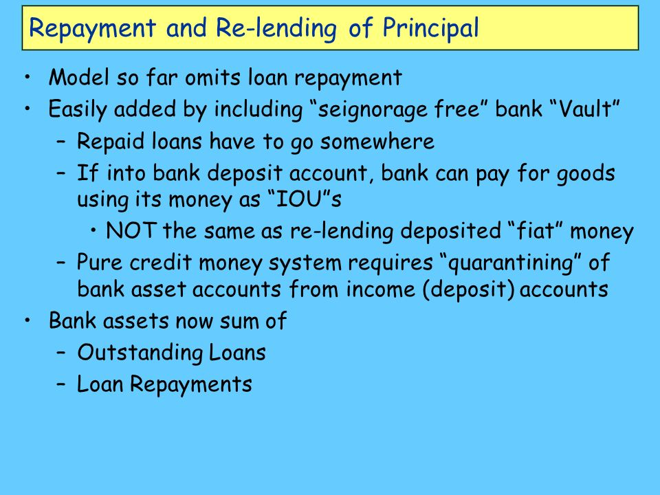 Repayment and Re-lending of Principal Model so far omits loan repayment Easily added by including seignorage free bank Vault –Repaid loans have to go