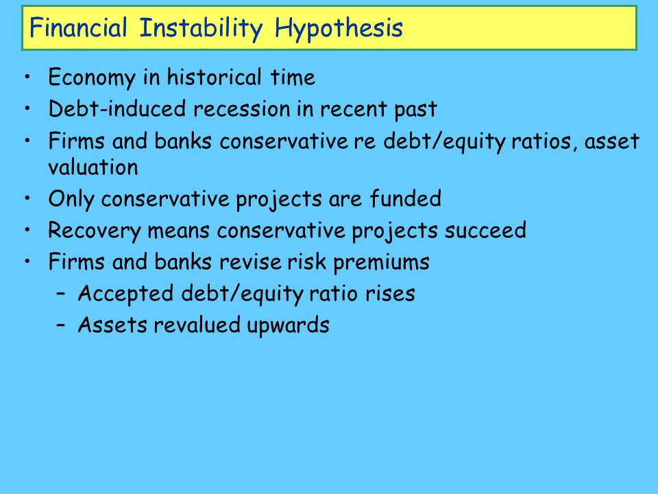 Financial Instability Hypothesis Economy in historical time Debt-induced recession in recent past Firms and banks conservative re debt/equity ratios,
