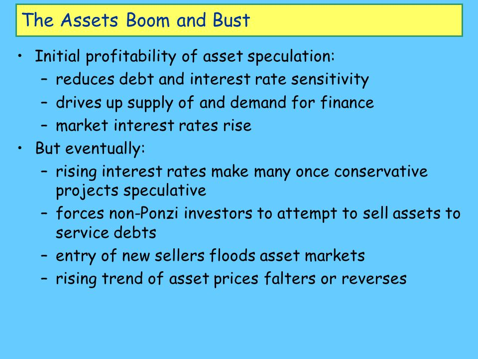 The Assets Boom and Bust Initial profitability of asset speculation: –reduces debt and interest rate sensitivity –drives up supply of and demand for f