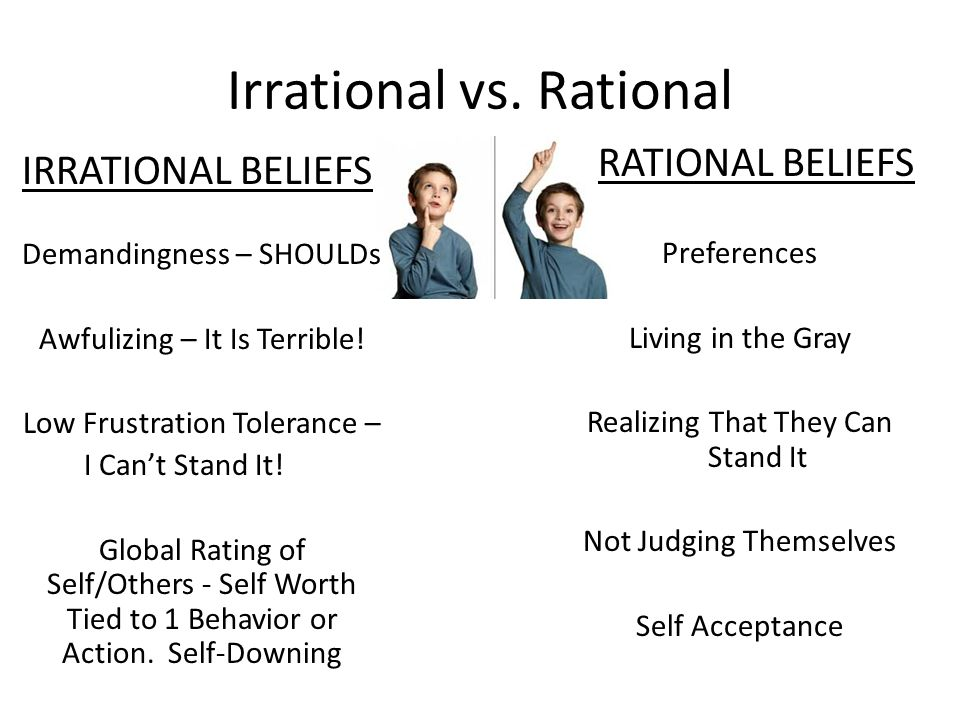 Irrational vs. Rational IRRATIONAL BELIEFS Demandingness – SHOULDs Awfulizing – It Is Terrible! Low Frustration Tolerance – I Cant Stand It! Global Ra