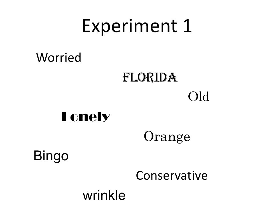 Experiment 1 Worried Florida Old Lonely Orange Bingo Conservative wrinkle