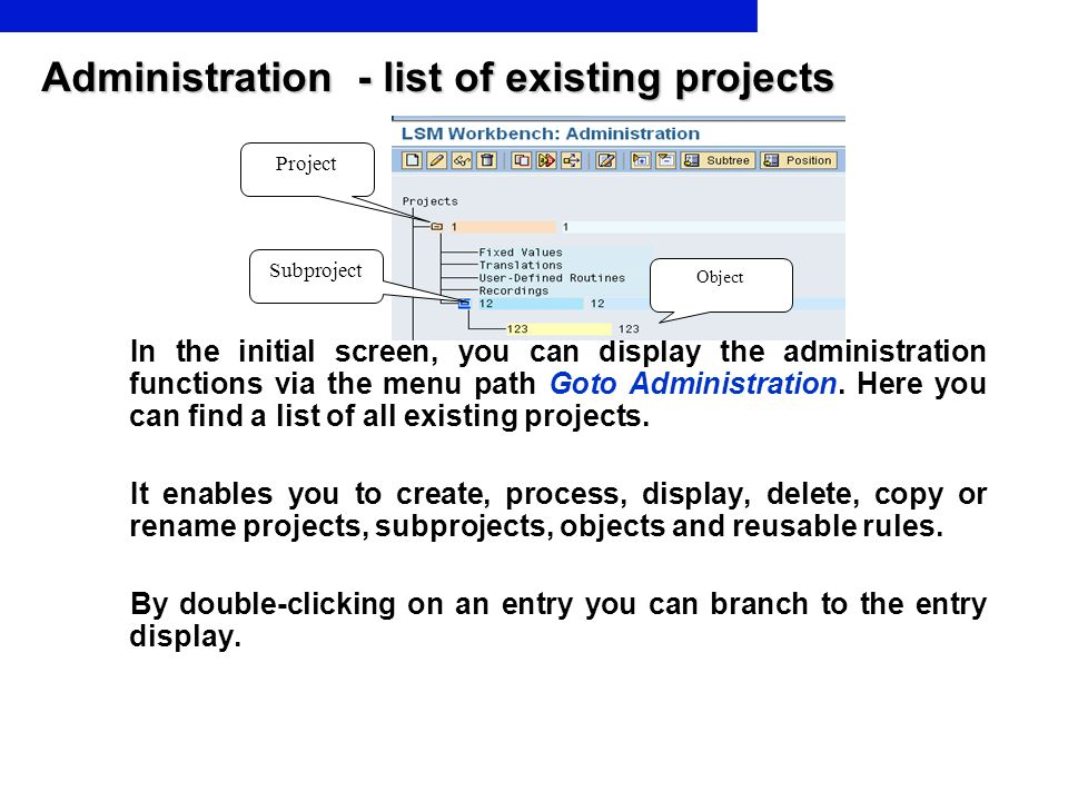 Administration - list of existing projects In the initial screen, you can display the administration functions via the menu path Goto Administration.