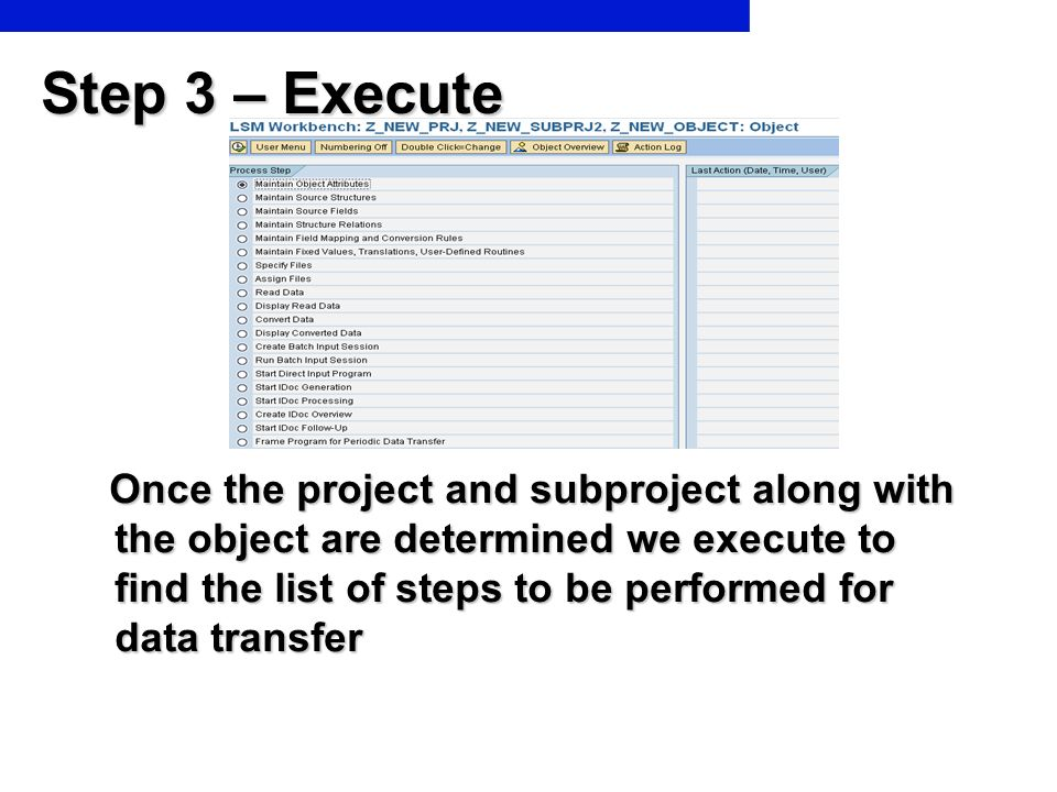 Step 3 – Execute Once the project and subproject along with the object are determined we execute to find the list of steps to be performed for data tr
