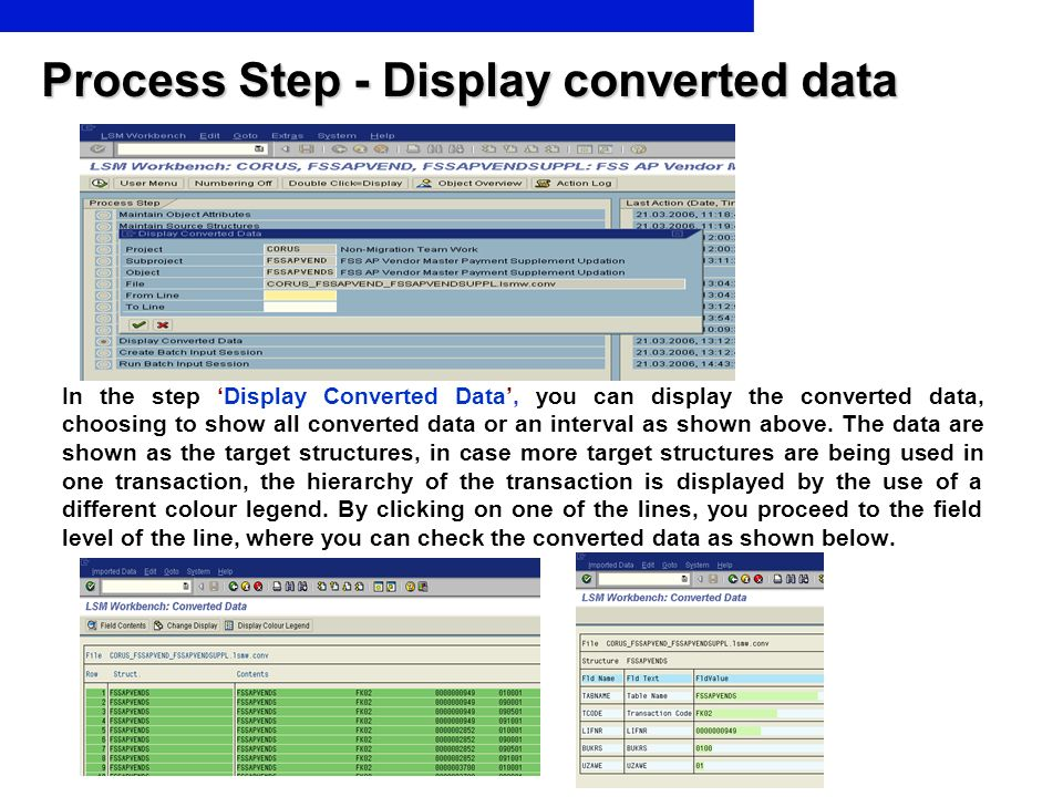 Process Step - Display converted data In the step Display Converted Data, you can display the converted data, choosing to show all converted data or a