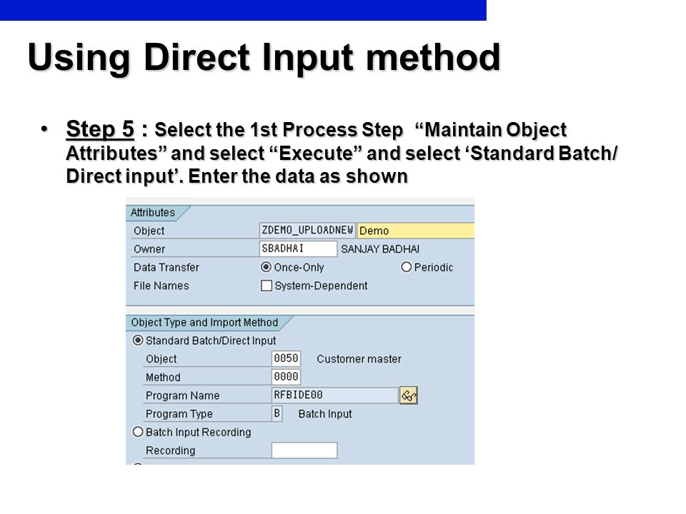Using Direct Input method Step 5 : Select the 1st Process Step Maintain Object Attributes and select Execute and select Standard Batch/ Direct input.