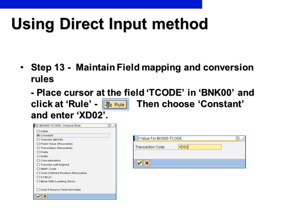Using Direct Input method Step 13 - Maintain Field mapping and conversion rulesStep 13 - Maintain Field mapping and conversion rules - Place cursor at