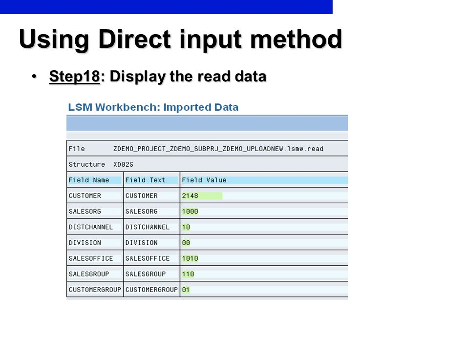 Using Direct input method Step18: Display the read dataStep18: Display the read data
