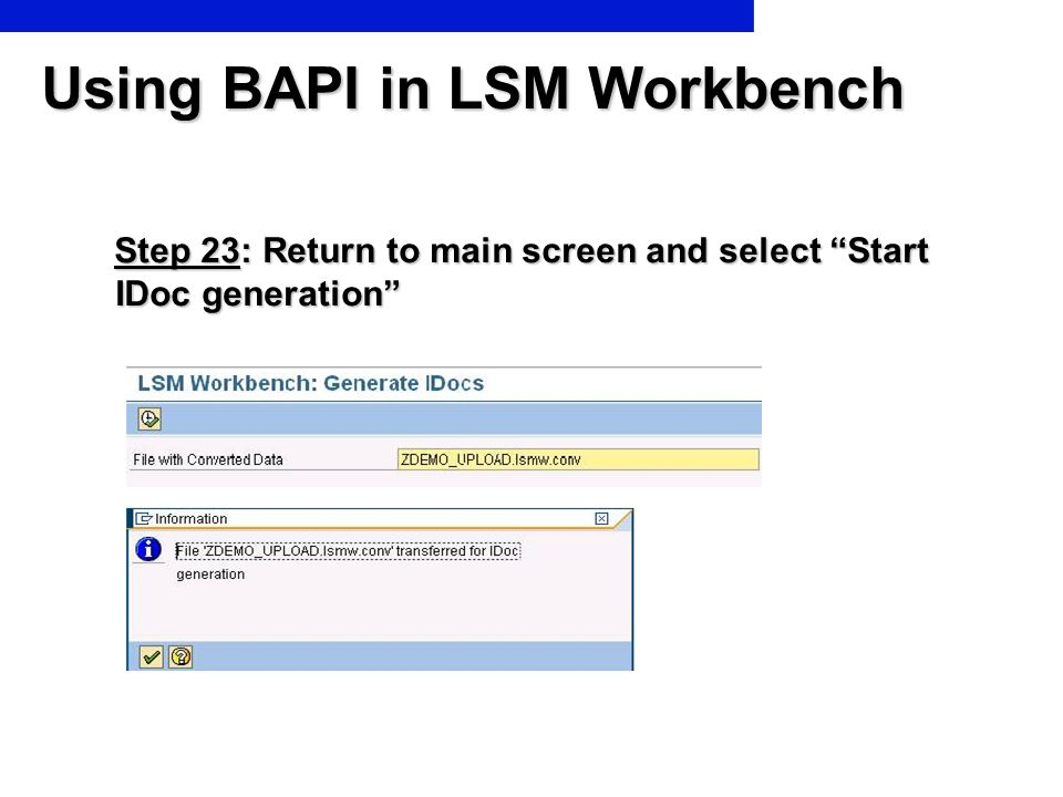 Using BAPI in LSM Workbench Step 23: Return to main screen and select Start IDoc generation Step 23: Return to main screen and select Start IDoc gener