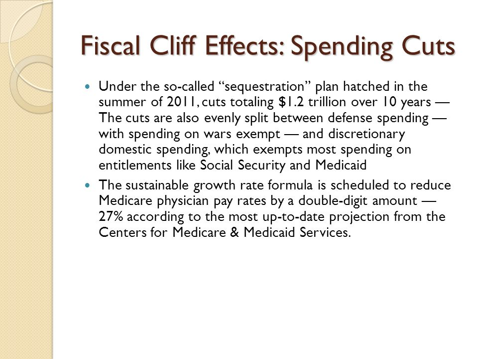 Fiscal Cliff Effects: Spending Cuts Under the so-called sequestration plan hatched in the summer of 2011, cuts totaling $1.2 trillion over 10 years Th