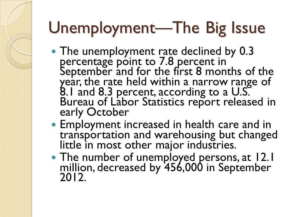 UnemploymentThe Big Issue The unemployment rate declined by 0.3 percentage point to 7.8 percent in September and for the first 8 months of the year, the rate held within a narrow range of 8.1 and 8.3 percent, according to a U.S.