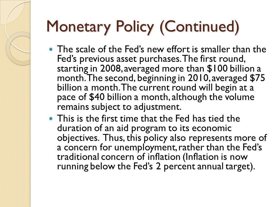 Monetary Policy (Continued) The scale of the Feds new effort is smaller than the Feds previous asset purchases.