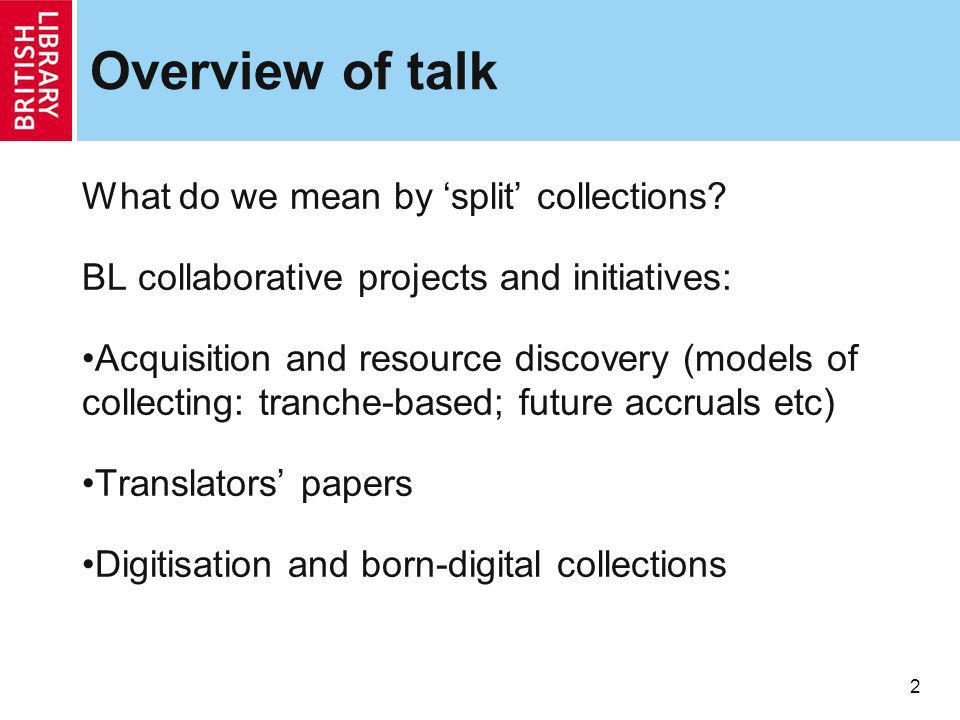 2 Overview of talk What do we mean by split collections.
