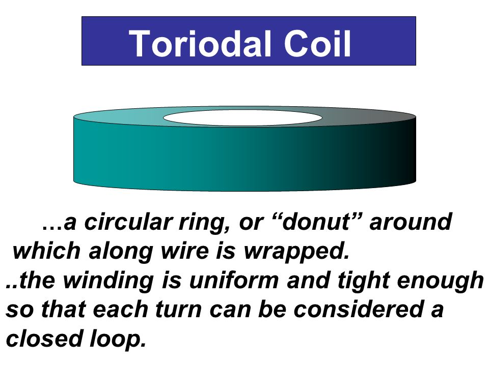 Toriodal Coil … a circular ring, or donut around which along wire is wrapped...the winding is uniform and tight enough so that each turn can be consid