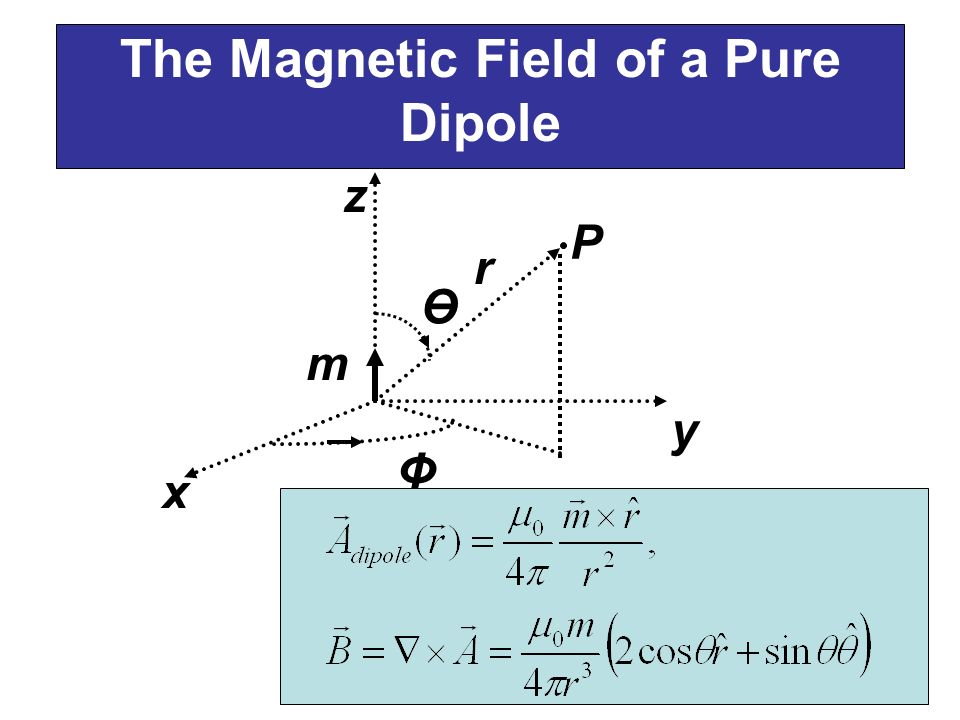 The Magnetic Field of a Pure Dipole x Ө Φ y z m r P