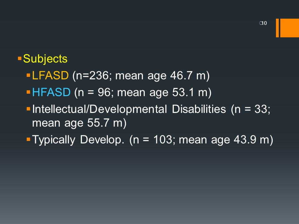 Subjects LFASD (n=236; mean age 46.7 m) HFASD (n = 96; mean age 53.1 m) Intellectual/Developmental Disabilities (n = 33; mean age 55.7 m) Typically De
