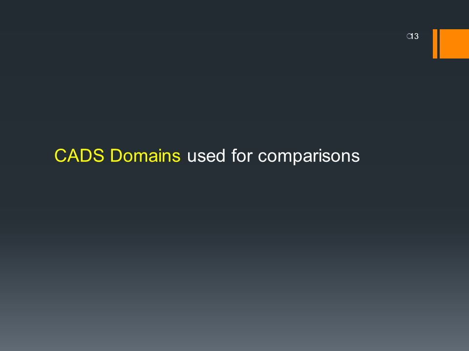 CADS Domains used for comparisons 13