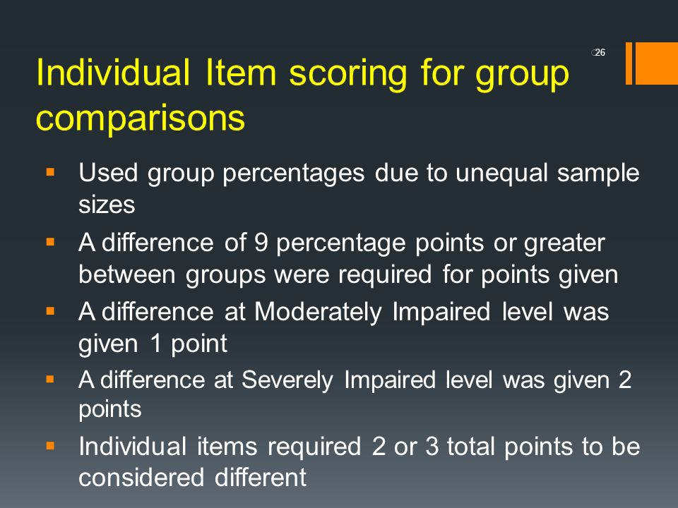 Individual Item scoring for group comparisons Used group percentages due to unequal sample sizes A difference of 9 percentage points or greater betwee