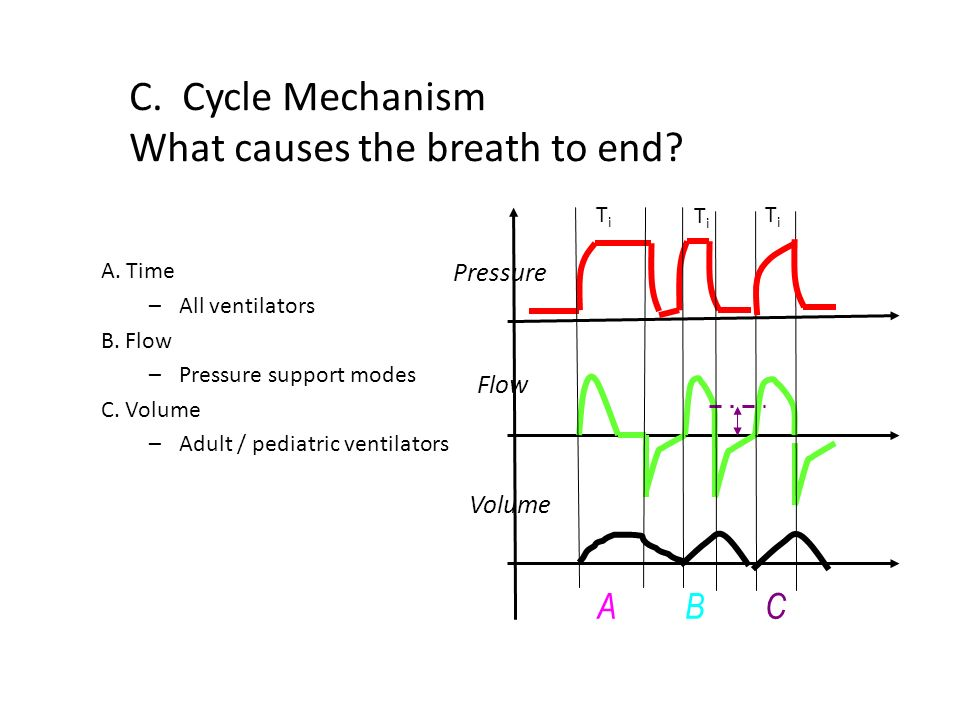 C. Cycle Mechanism What causes the breath to end? A. Time –All ventilators B. Flow –Pressure support modes C. Volume –Adult / pediatric ventilators Pr