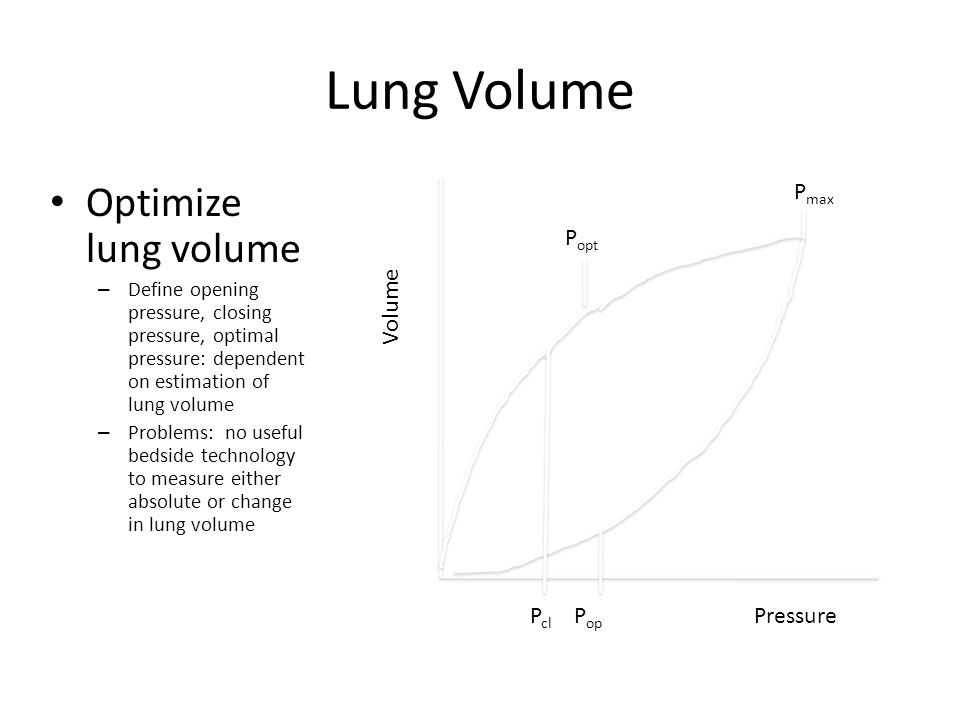 Lung Volume Optimize lung volume – Define opening pressure, closing pressure, optimal pressure: dependent on estimation of lung volume – Problems: no