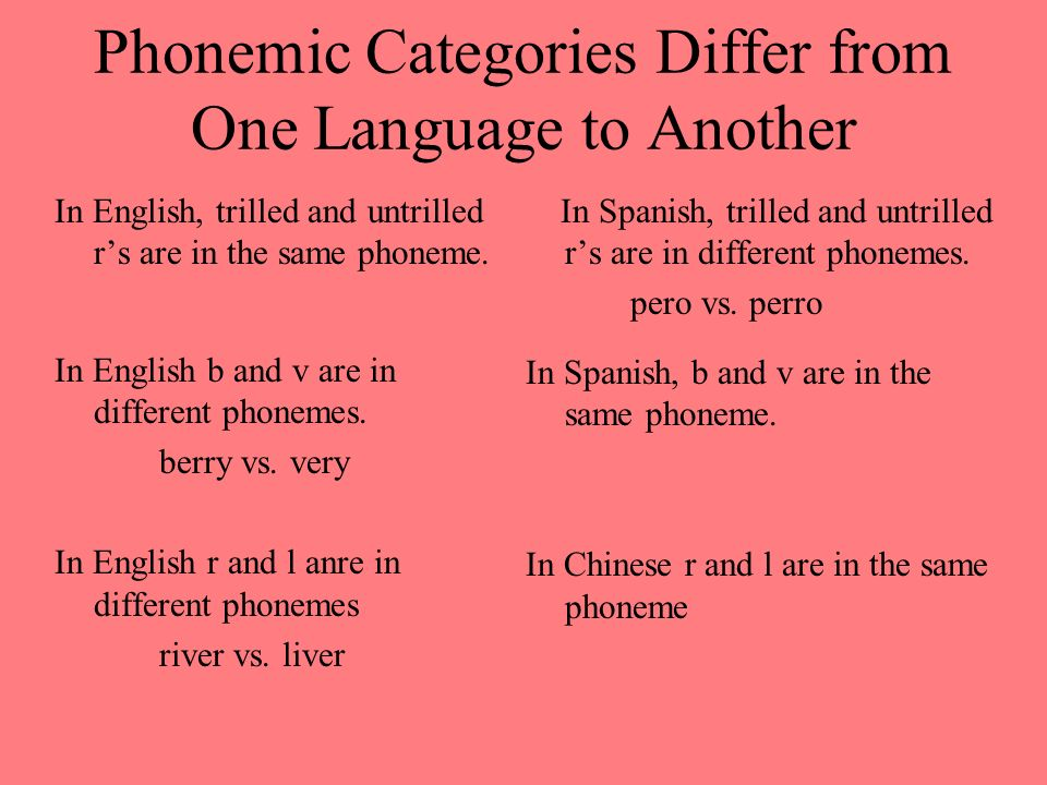Phonemic Categories Differ from One Language to Another In English, trilled and untrilled rs are in the same phoneme. In English b and v are in differ