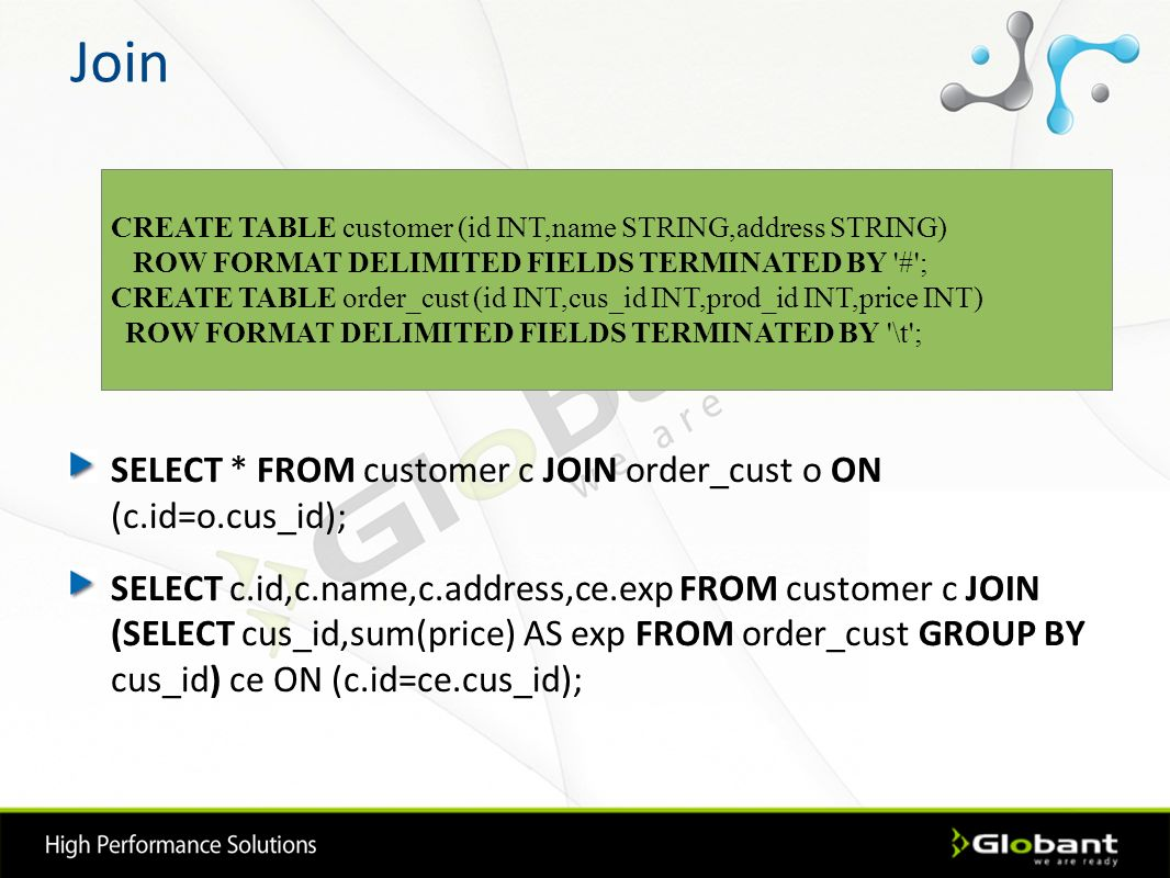 Join SELECT * FROM customer c JOIN order_cust o ON (c.id=o.cus_id); SELECT c.id,c.name,c.address,ce.exp FROM customer c JOIN (SELECT cus_id,sum(price)