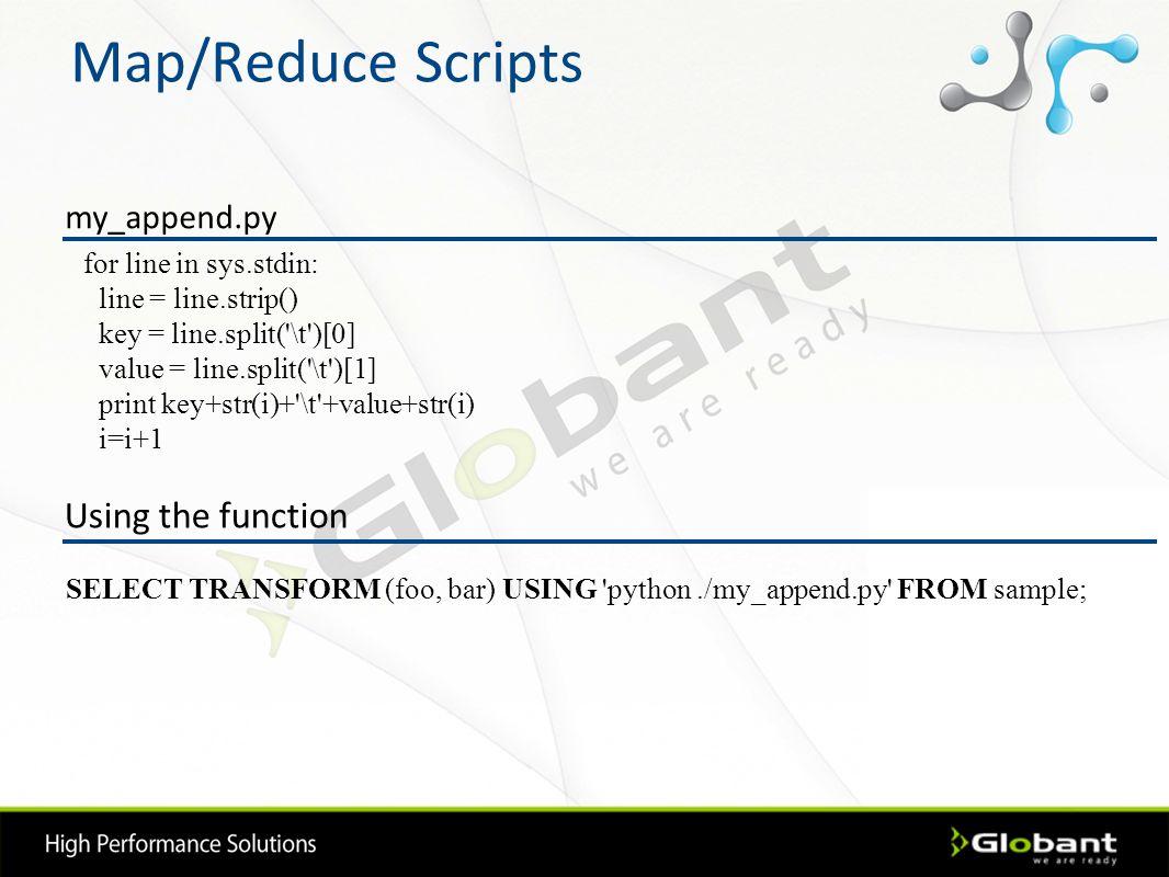 Map/Reduce Scripts for line in sys.stdin: line = line.strip() key = line.split('\t')[0] value = line.split('\t')[1] print key+str(i)+'\t'+value+str(i)