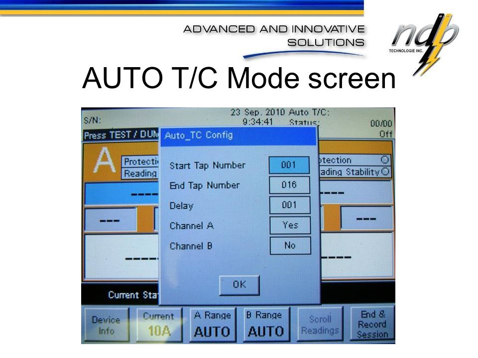 AUTO T/C Mode screen
