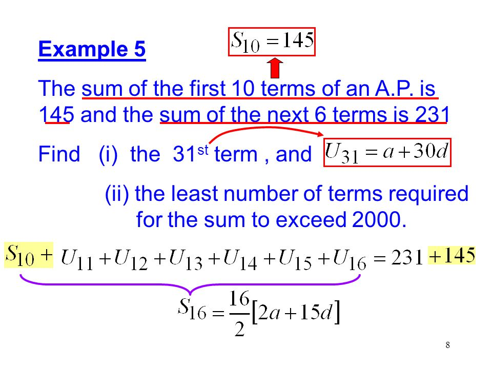 19 Example 9 A geometric series has first term 1 and the common ratio r, where r 1, is positive.