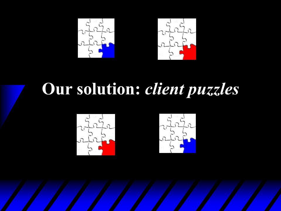 Our solution: client puzzles