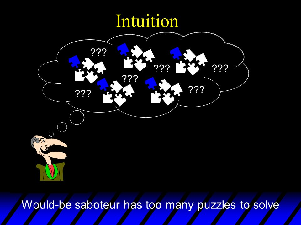Intuition ??? Would-be saboteur has too many puzzles to solve