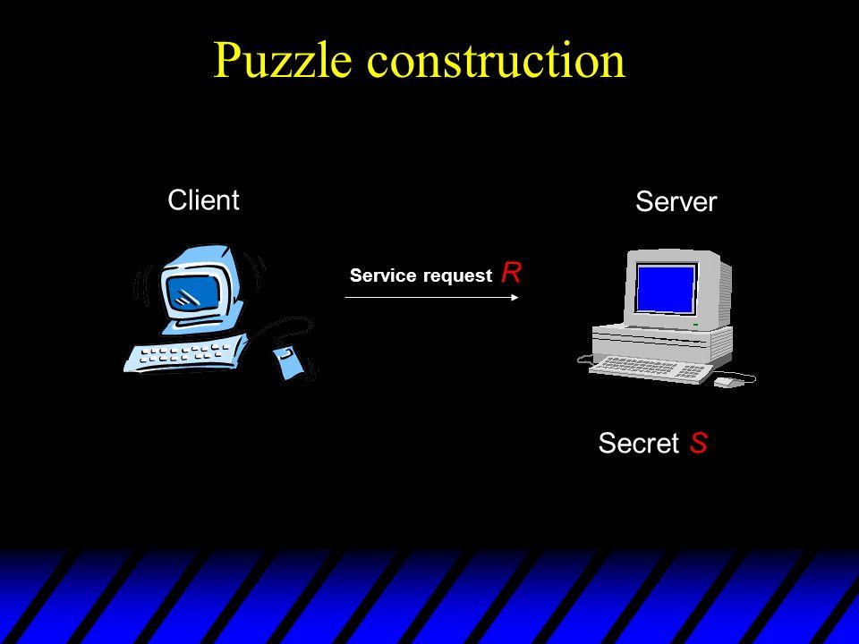 Puzzle construction Client Service request R Server Secret S