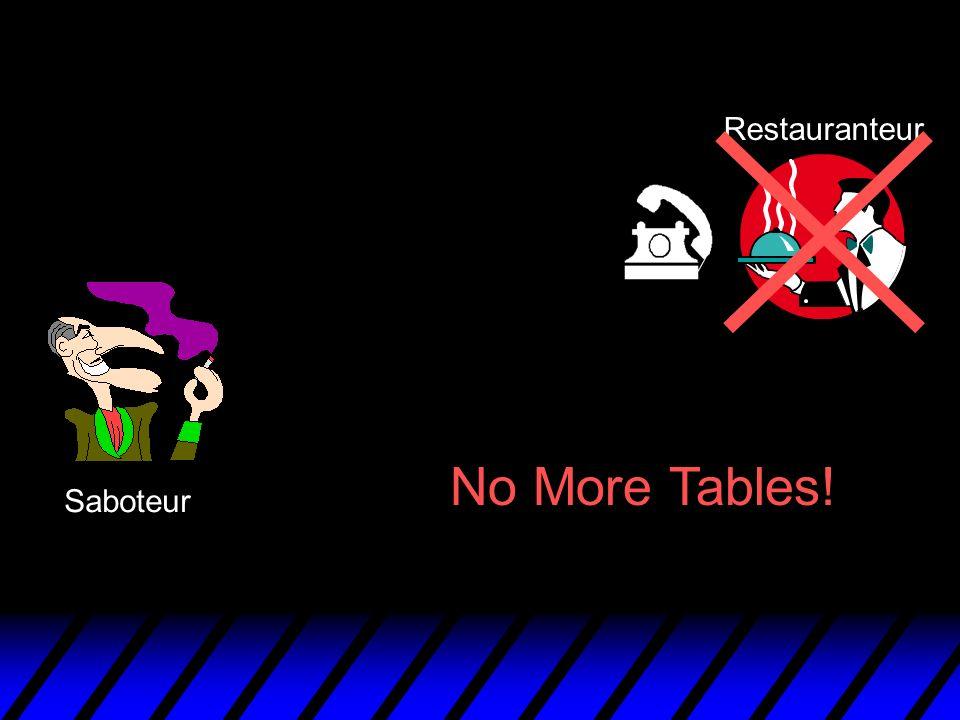 Saboteur Restauranteur No More Tables!